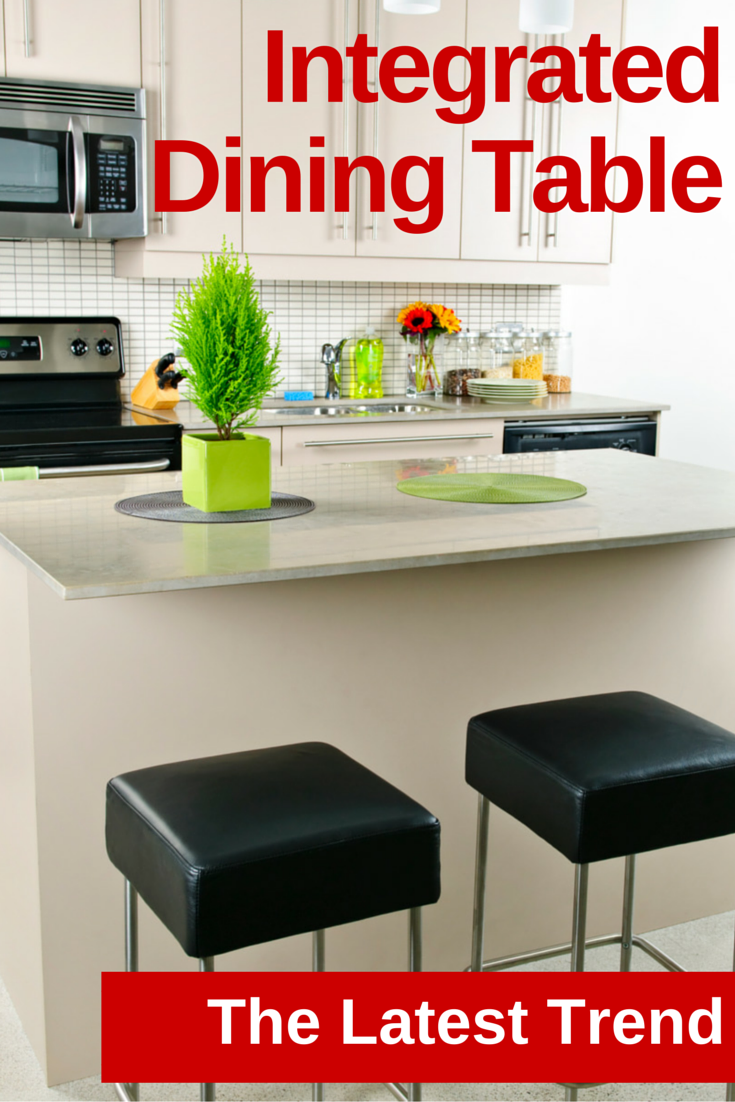 Integrated dining table with whitsunday kitchen designs for Latest trend in dining table